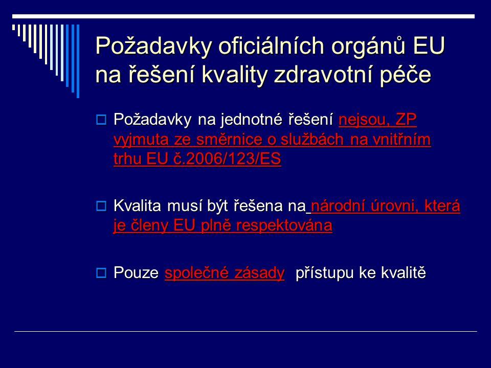 Požadavky oficiálních orgánů EU na řešení kvality zdravotní péče
