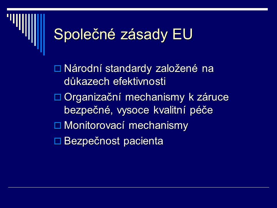 Společné zásady EU Národní standardy založené na důkazech efektivnosti