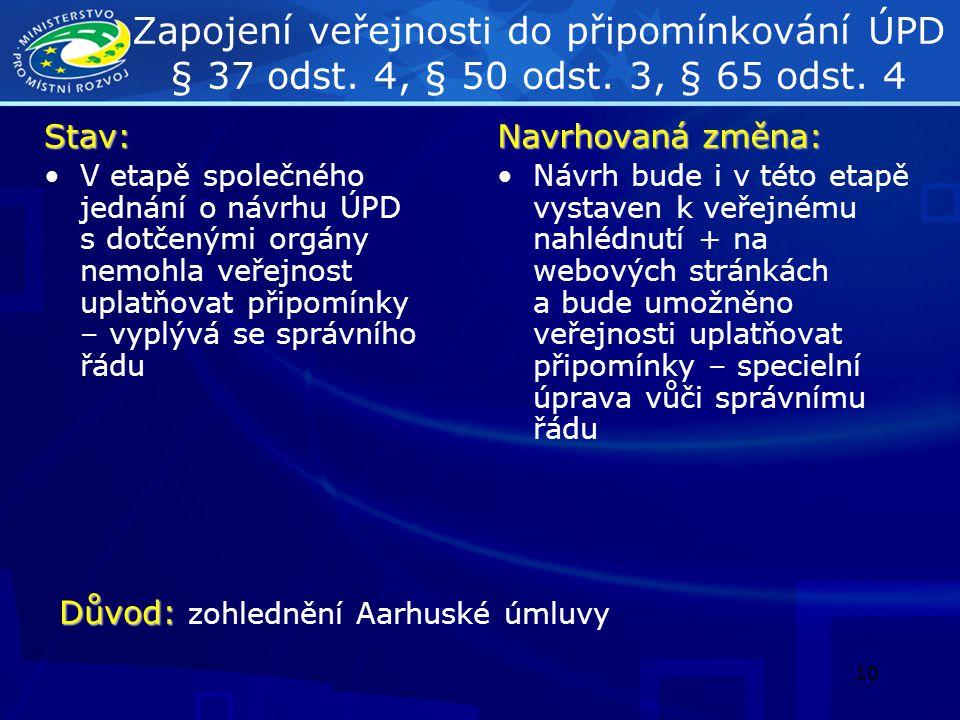 Zapojení veřejnosti do připomínkování ÚPD § 37 odst. 4, § 50 odst