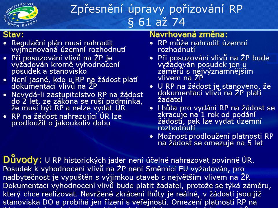 Zpřesnění úpravy pořizování RP § 61 až 74