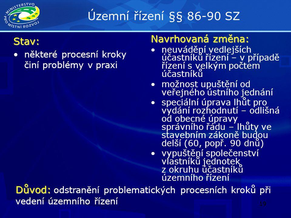 Územní řízení §§ 86-90 SZ Stav: Navrhovaná změna:
