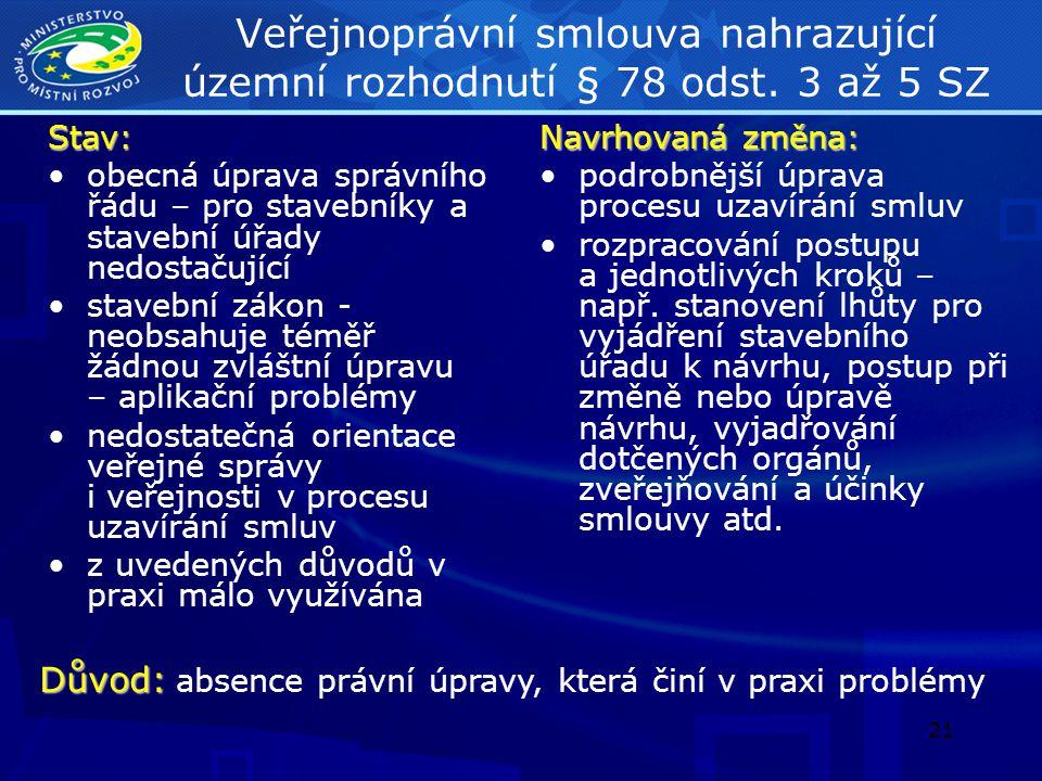 Veřejnoprávní smlouva nahrazující územní rozhodnutí § 78 odst
