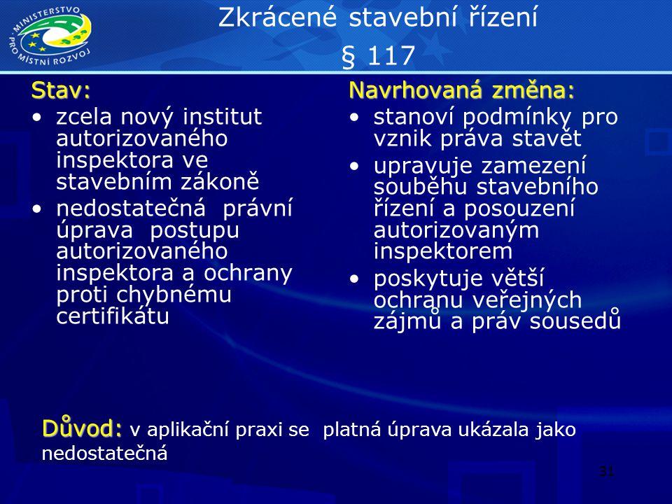 Zkrácené stavební řízení § 117