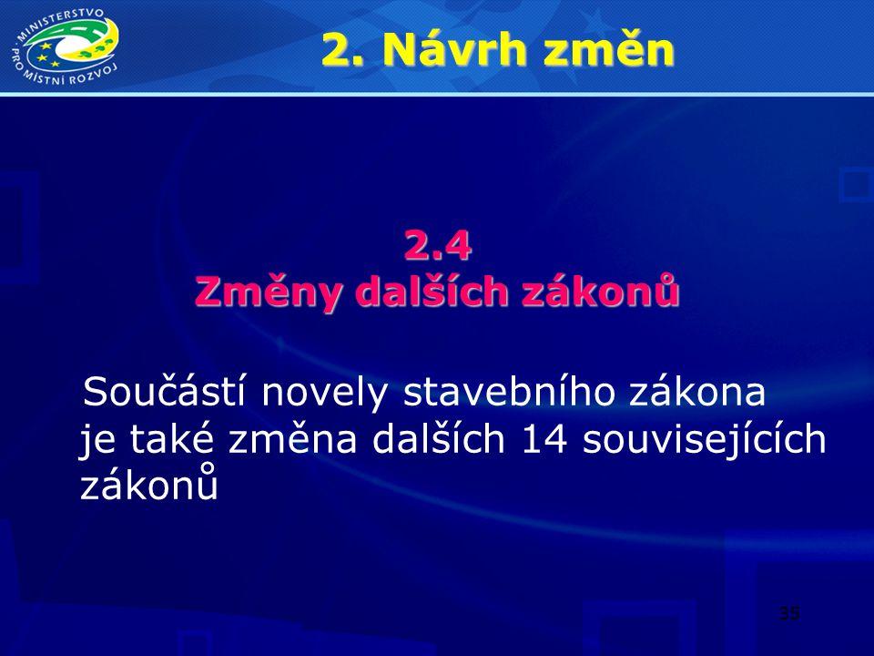 2. Návrh změn 2.4 Změny dalších zákonů