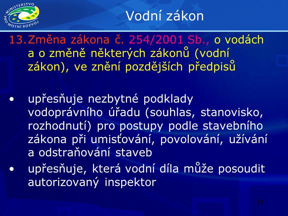 Vodní zákon Změna zákona č. 254/2001 Sb., o vodách a o změně některých zákonů (vodní zákon), ve znění pozdějších předpisů.