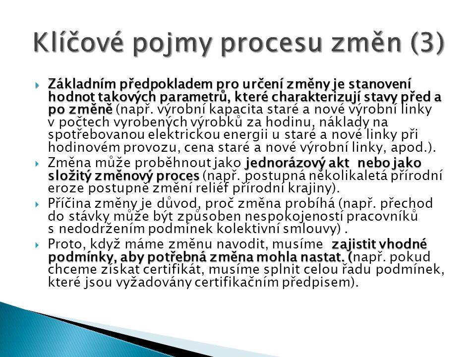 Klíčové pojmy procesu změn (3)