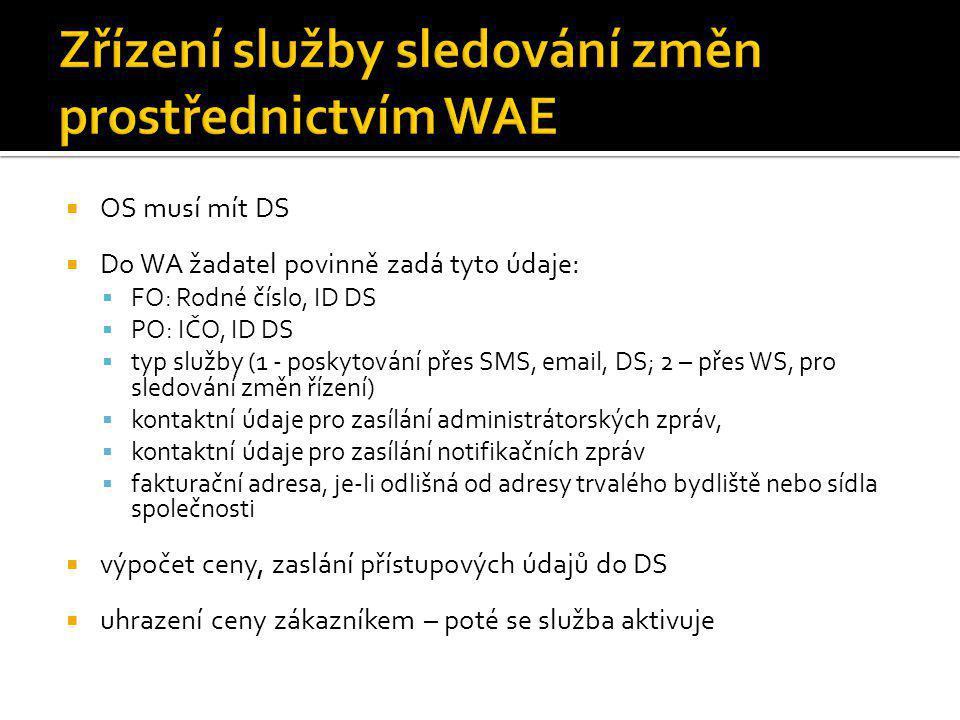 Zřízení služby sledování změn prostřednictvím WAE