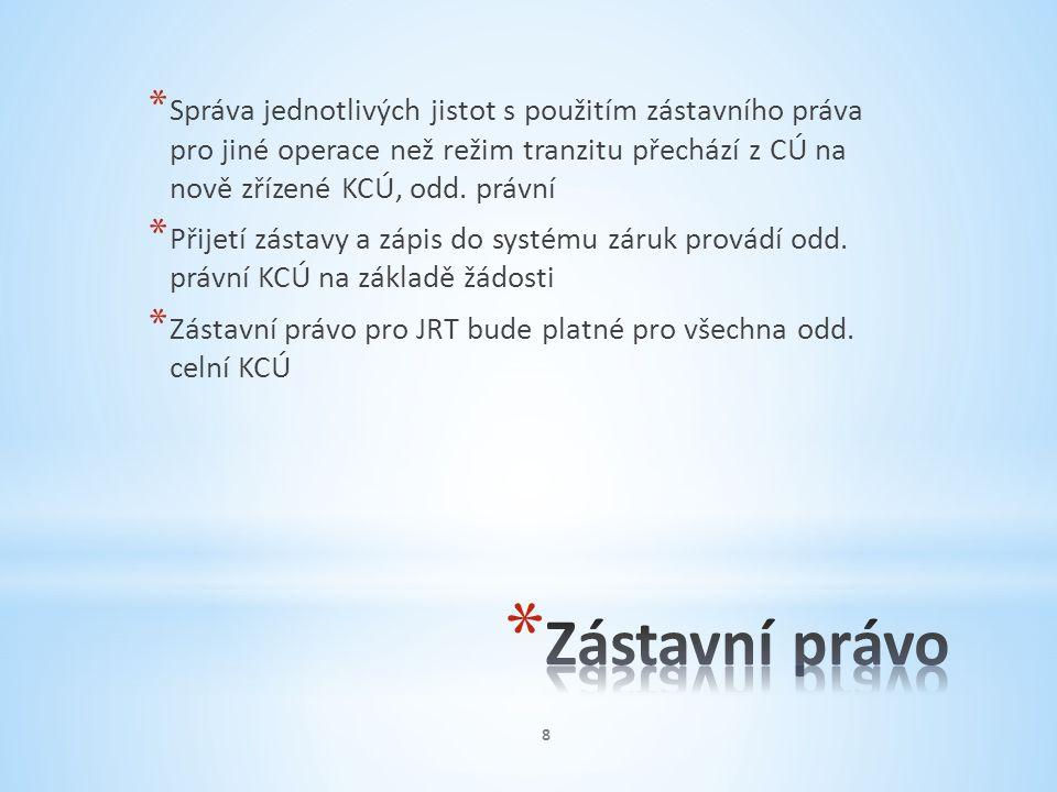 Správa jednotlivých jistot s použitím zástavního práva pro jiné operace než režim tranzitu přechází z CÚ na nově zřízené KCÚ, odd. právní