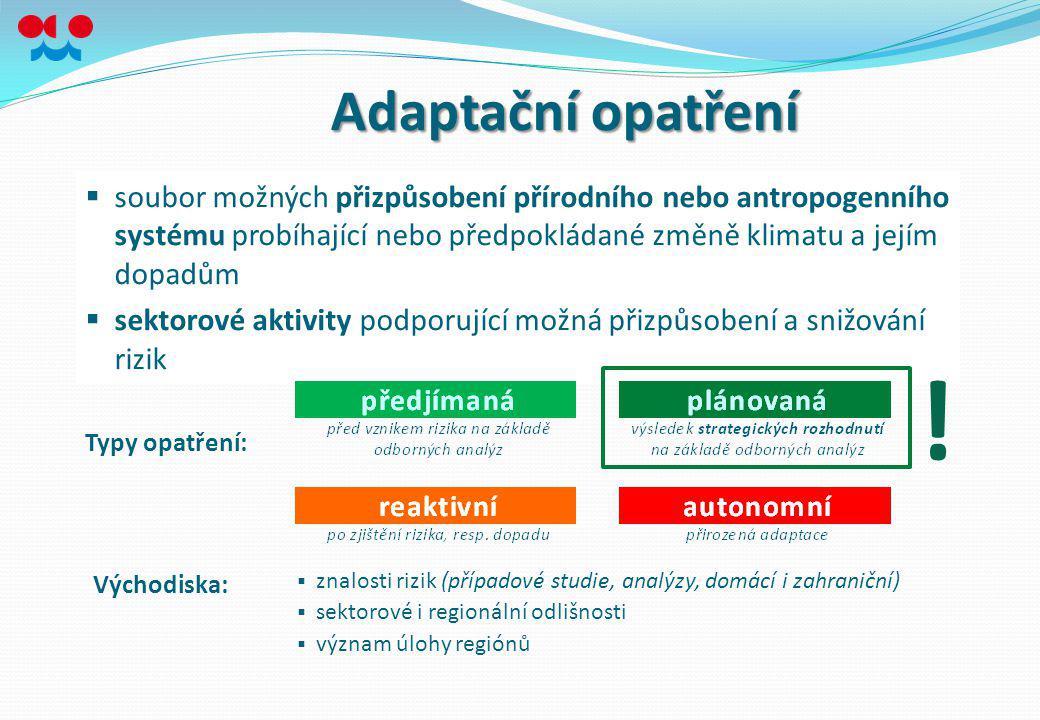 Adaptační opatření soubor možných přizpůsobení přírodního nebo antropogenního systému probíhající nebo předpokládané změně klimatu a jejím dopadům.