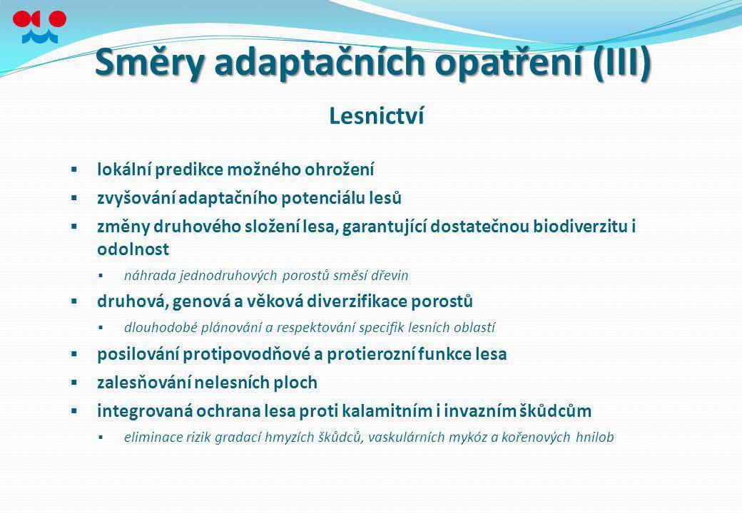 Směry adaptačních opatření (III)