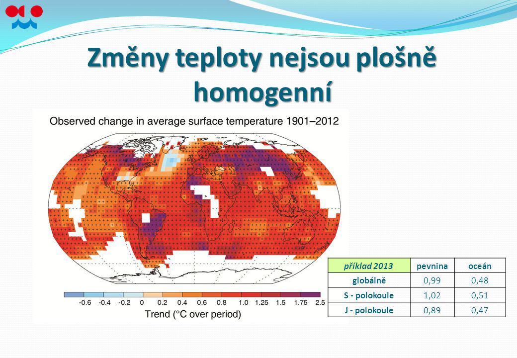Změny teploty nejsou plošně homogenní