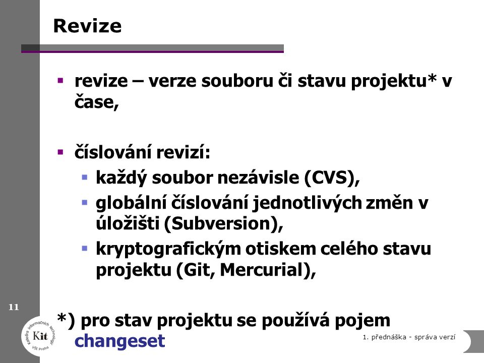 Revize revize – verze souboru či stavu projektu* v čase,