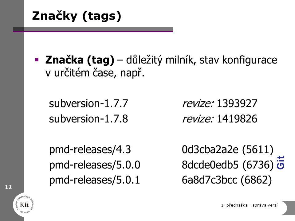 Značky (tags) Značka (tag) – důležitý milník, stav konfigurace v určitém čase, např. subversion-1.7.7 revize: 1393927.