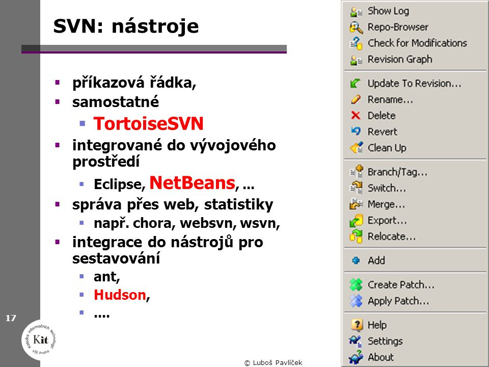 SVN: nástroje TortoiseSVN příkazová řádka, samostatné