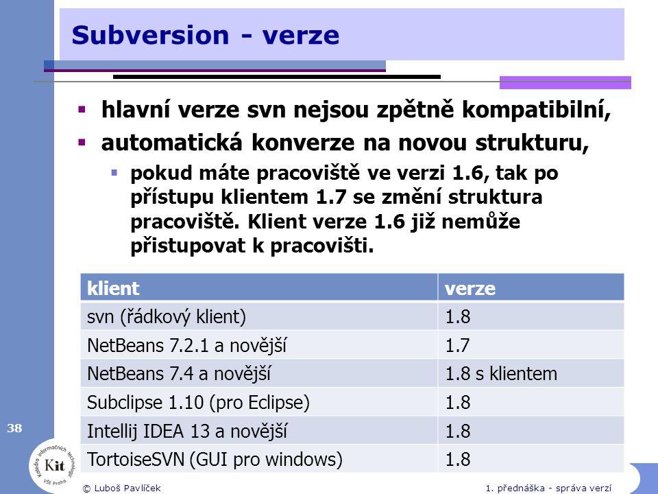 Subversion - verze hlavní verze svn nejsou zpětně kompatibilní,