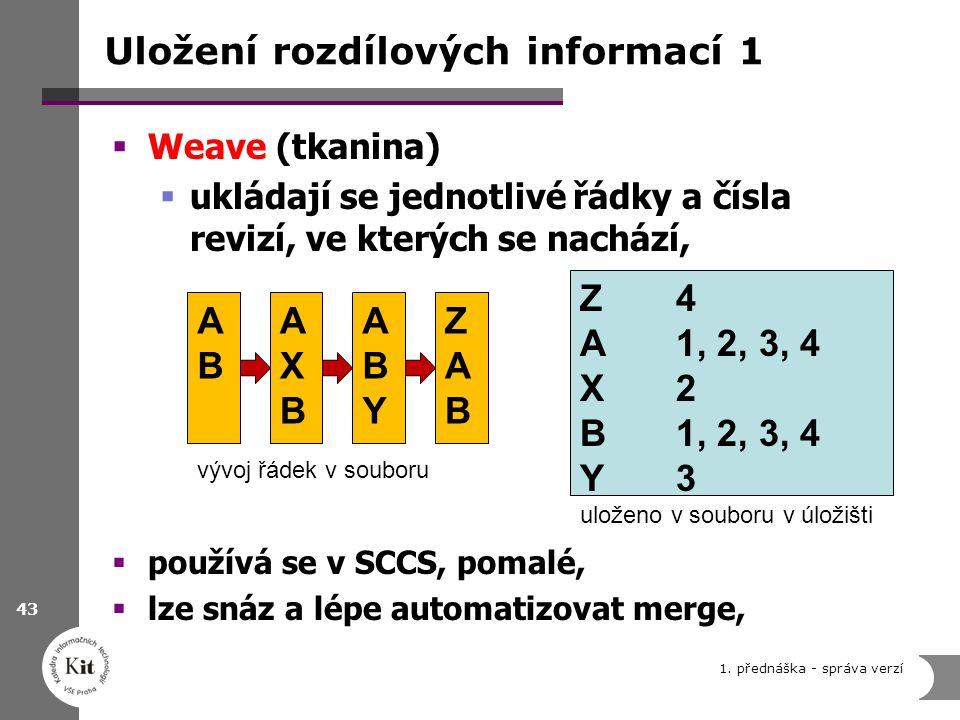 Uložení rozdílových informací 1