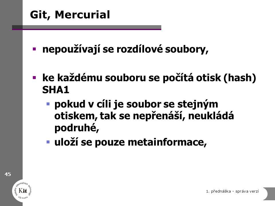 Git, Mercurial nepoužívají se rozdílové soubory,