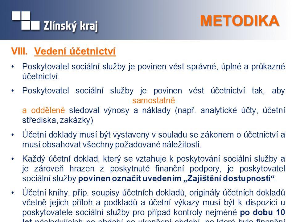 METODIKA VIII. Vedení účetnictví