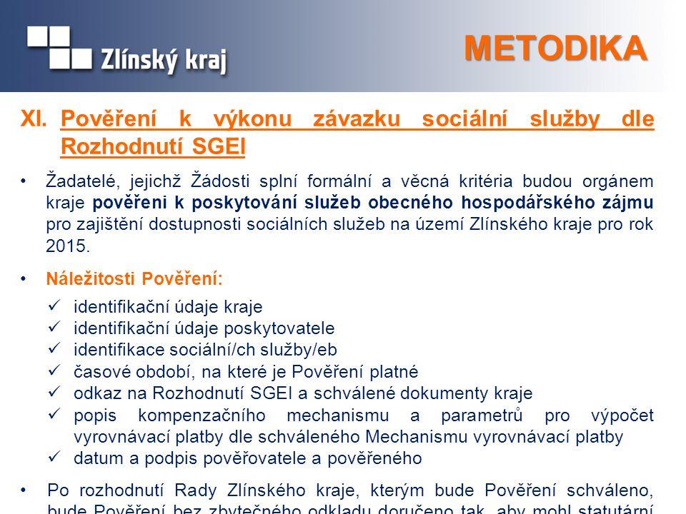 METODIKA XI. Pověření k výkonu závazku sociální služby dle Rozhodnutí SGEI.