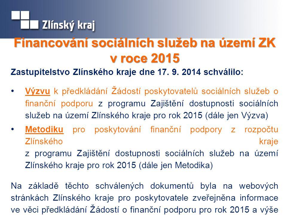 Financování sociálních služeb na území ZK v roce 2015