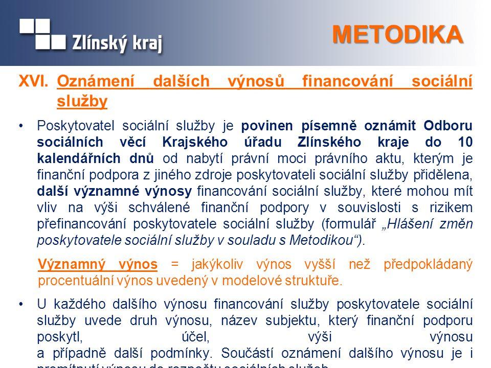 METODIKA XVI. Oznámení dalších výnosů financování sociální služby