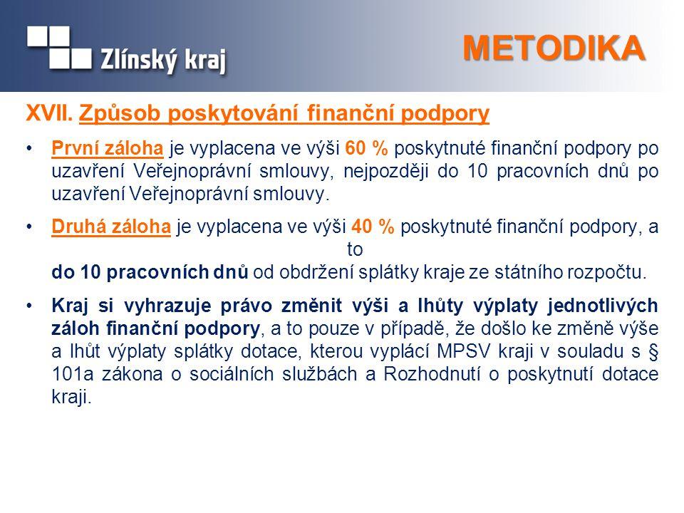 METODIKA XVII. Způsob poskytování finanční podpory