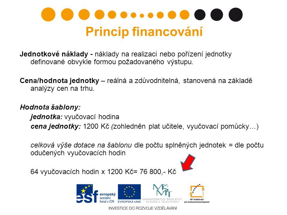 Princip financování Jednotkové náklady - náklady na realizaci nebo pořízení jednotky definované obvykle formou požadovaného výstupu.