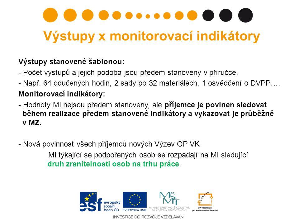 Výstupy x monitorovací indikátory