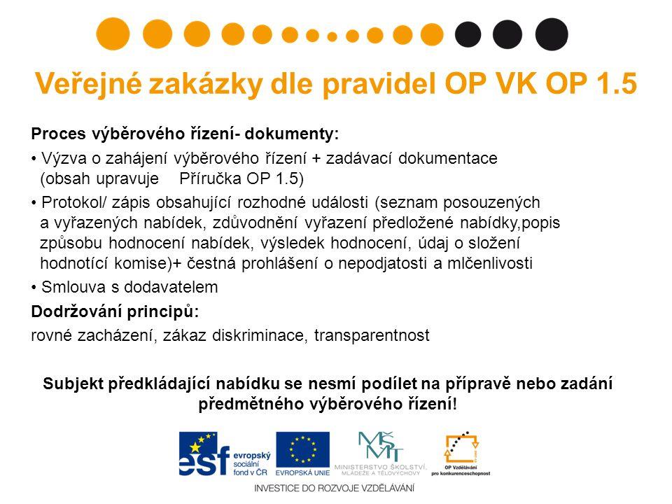 Veřejné zakázky dle pravidel OP VK OP 1.5