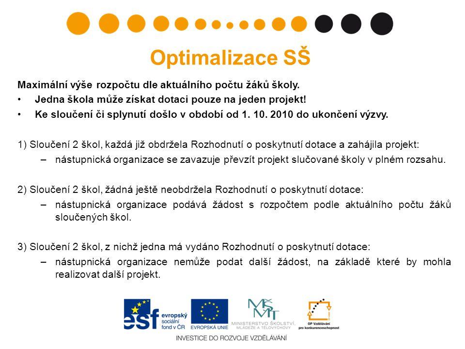 Optimalizace SŠ Maximální výše rozpočtu dle aktuálního počtu žáků školy. Jedna škola může získat dotaci pouze na jeden projekt!