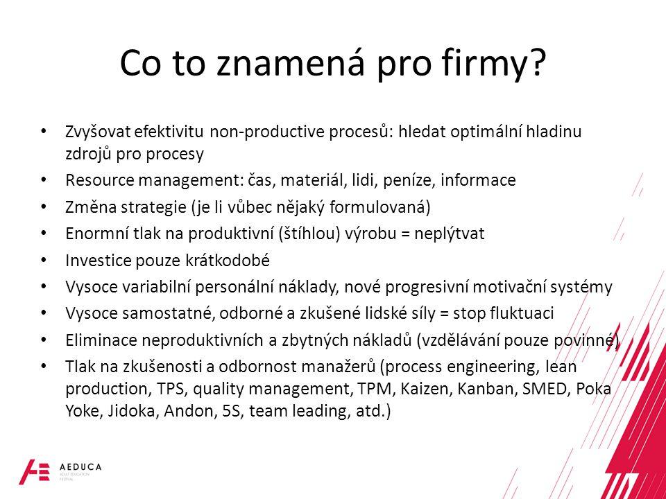 Co to znamená pro firmy Zvyšovat efektivitu non-productive procesů: hledat optimální hladinu zdrojů pro procesy.