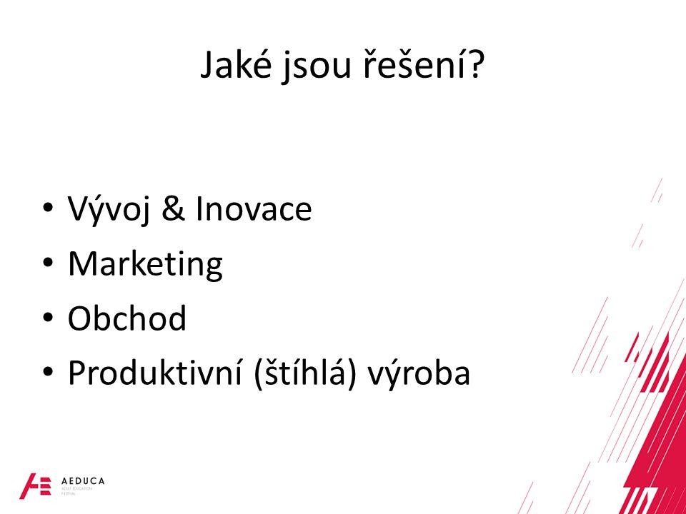 Jaké jsou řešení Vývoj & Inovace Marketing Obchod