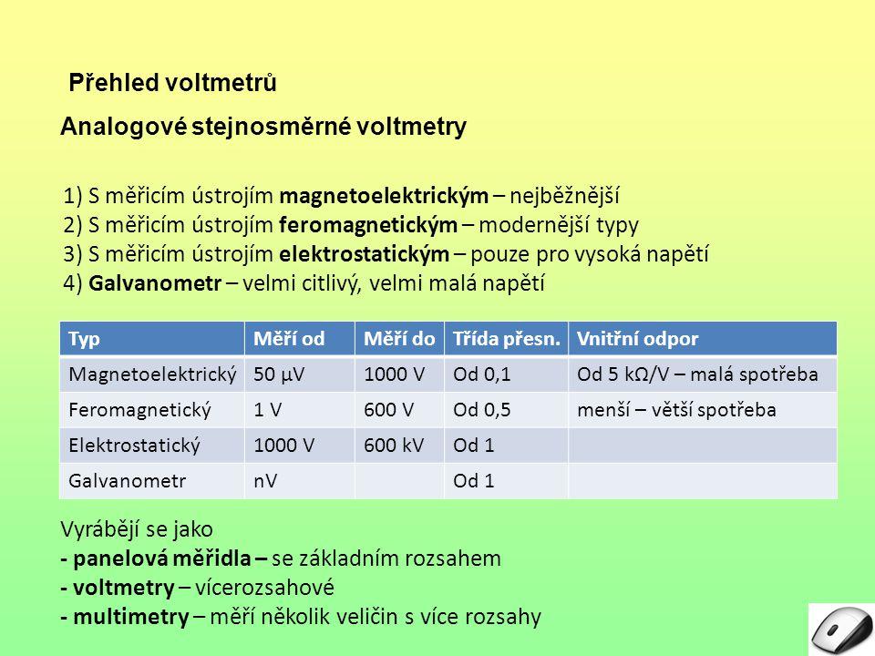 Analogové stejnosměrné voltmetry