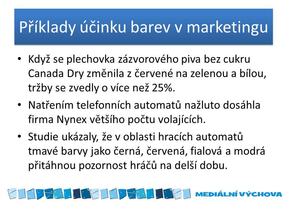 Příklady účinku barev v marketingu