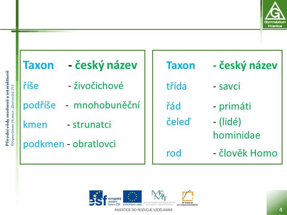 Taxon - český název říše - živočichové podříše - mnohobuněční