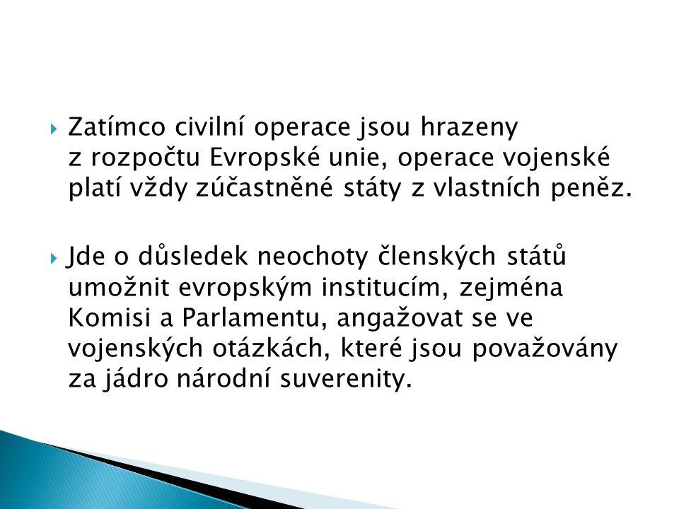 Zatímco civilní operace jsou hrazeny z rozpočtu Evropské unie, operace vojenské platí vždy zúčastněné státy z vlastních peněz.