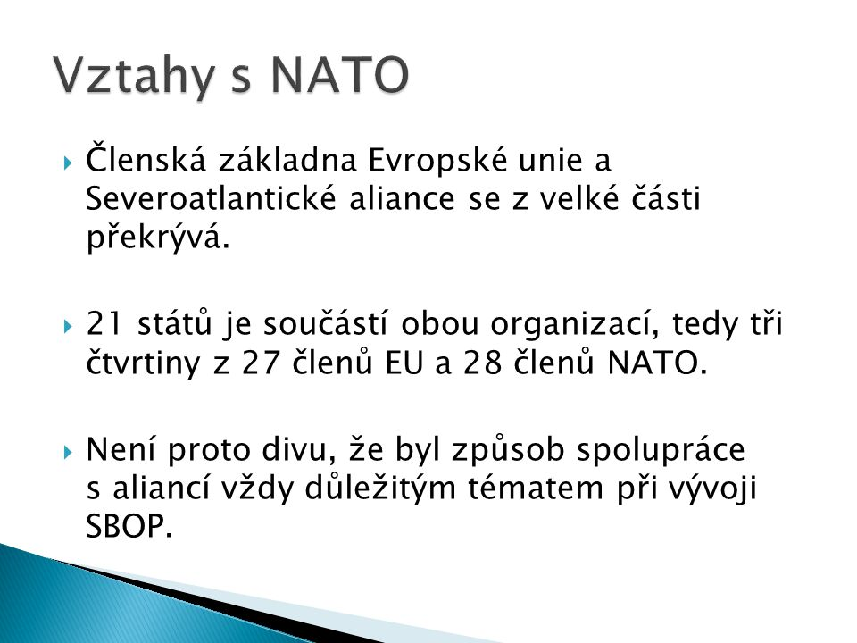 Vztahy s NATO Členská základna Evropské unie a Severoatlantické aliance se z velké části překrývá.
