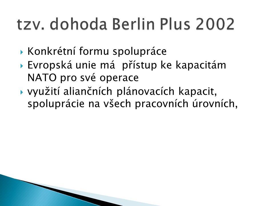 tzv. dohoda Berlin Plus 2002 Konkrétní formu spolupráce