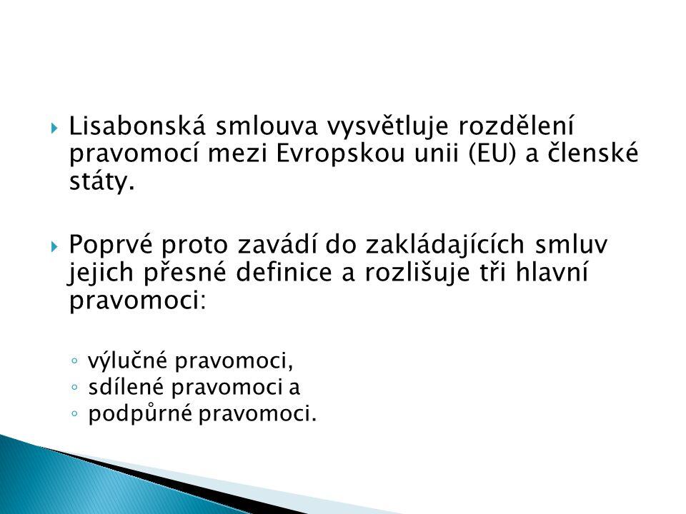 Lisabonská smlouva vysvětluje rozdělení pravomocí mezi Evropskou unii (EU) a členské státy.