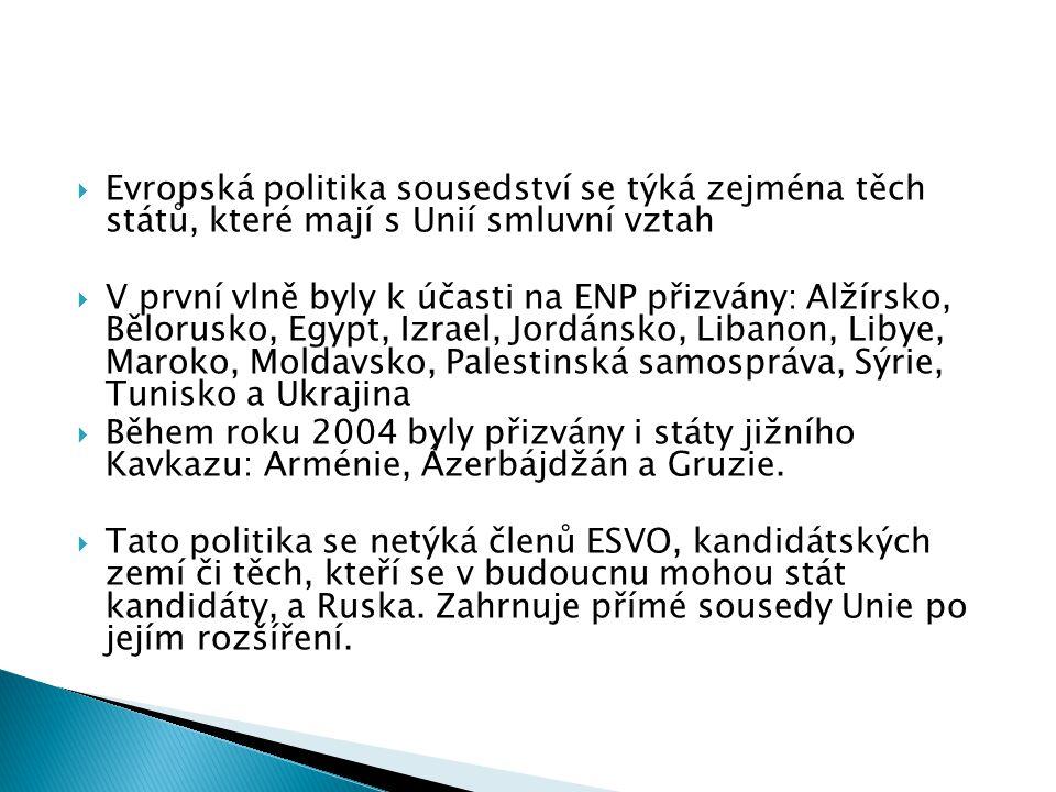Evropská politika sousedství se týká zejména těch států, které mají s Unií smluvní vztah