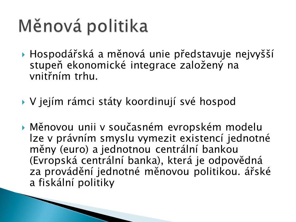 Měnová politika Hospodářská a měnová unie představuje nejvyšší stupeň ekonomické integrace založený na vnitřním trhu.