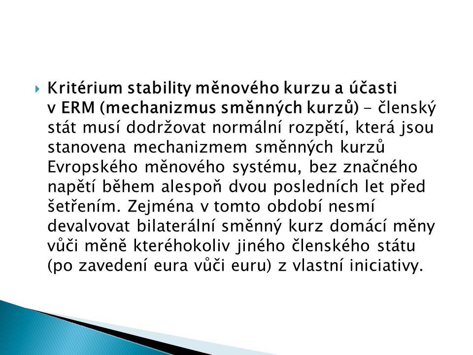 Kritérium stability měnového kurzu a účasti v ERM (mechanizmus směnných kurzů) - členský stát musí dodržovat normální rozpětí, která jsou stanovena mechanizmem směnných kurzů Evropského měnového systému, bez značného napětí během alespoň dvou posledních let před šetřením.