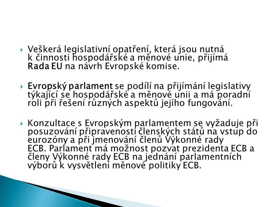 Veškerá legislativní opatření, která jsou nutná k činnosti hospodářské a měnové unie, přijímá Rada EU na návrh Evropské komise.