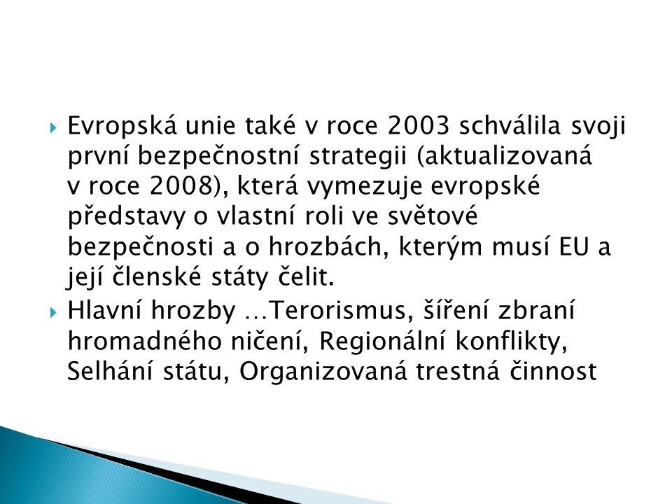Evropská unie také v roce 2003 schválila svoji první bezpečnostní strategii (aktualizovaná v roce 2008), která vymezuje evropské představy o vlastní roli ve světové bezpečnosti a o hrozbách, kterým musí EU a její členské státy čelit.