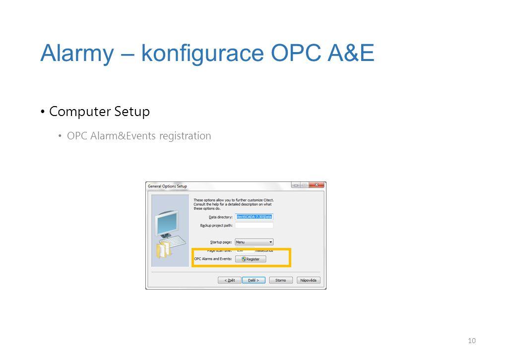 Alarmy – konfigurace OPC A&E