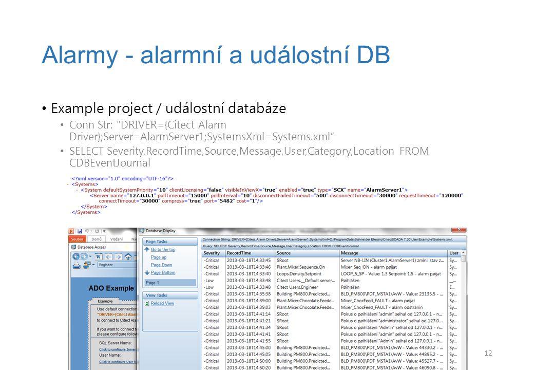Alarmy - alarmní a událostní DB