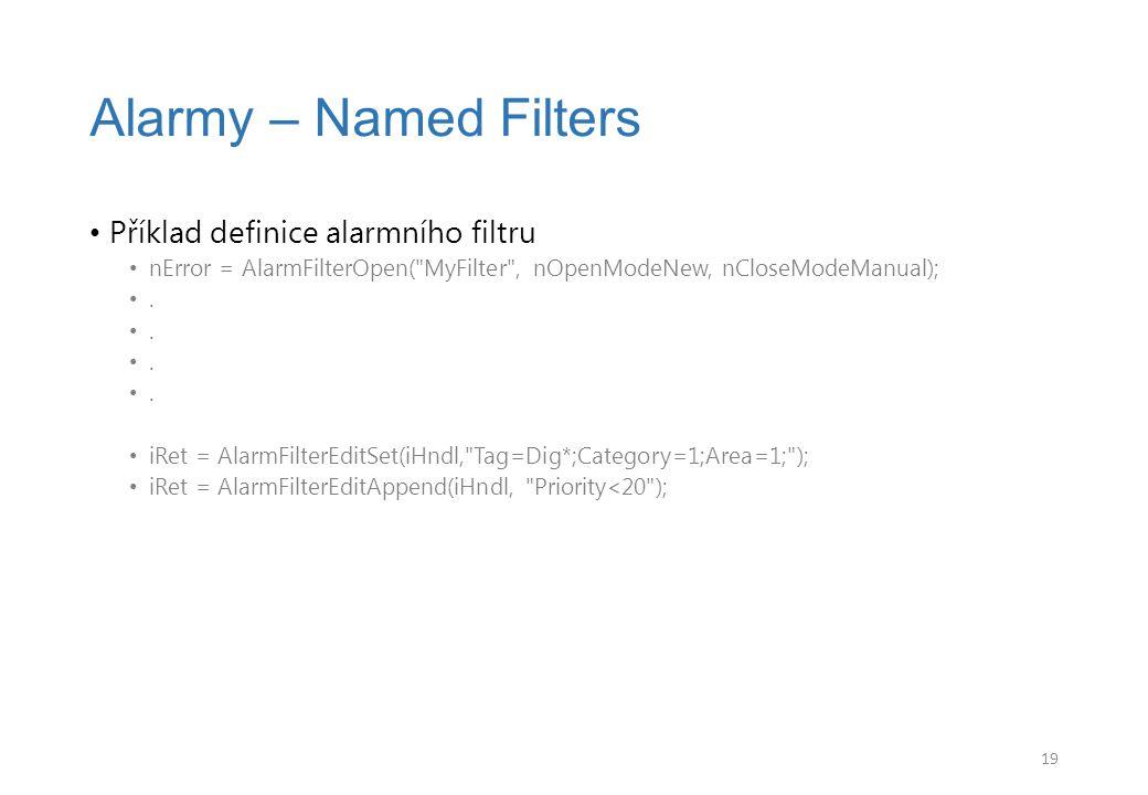 Alarmy – Named Filters Příklad definice alarmního filtru