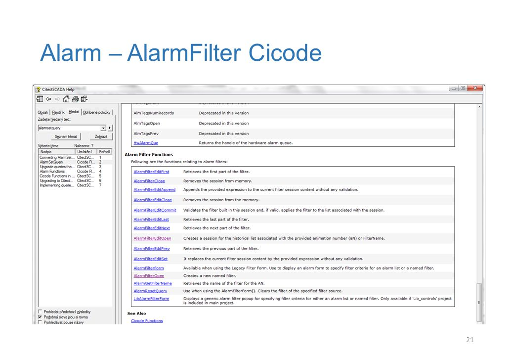 Alarm – AlarmFilter Cicode