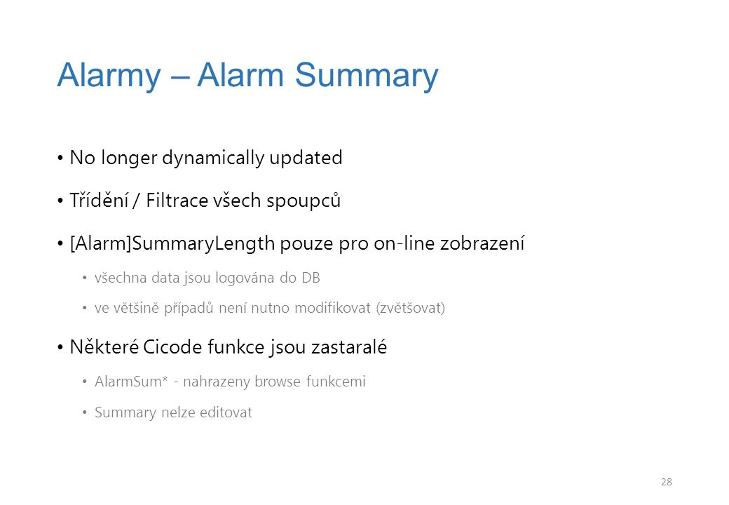 Alarmy – Alarm Summary No longer dynamically updated