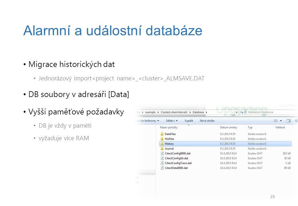 Alarmní a událostní databáze